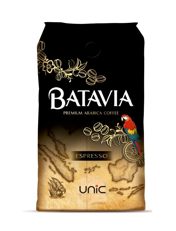 Cafès Unic. Batavia en gra i envasat en borsa.
