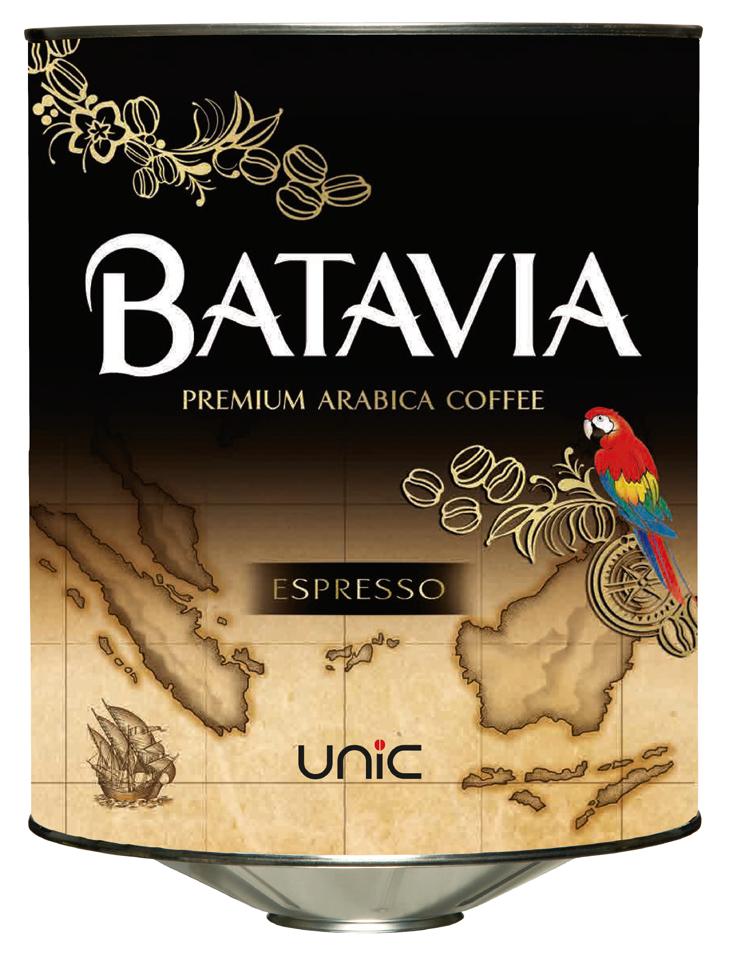 Cafès Unic. Batavia cafè en gra en envàs de llauna.